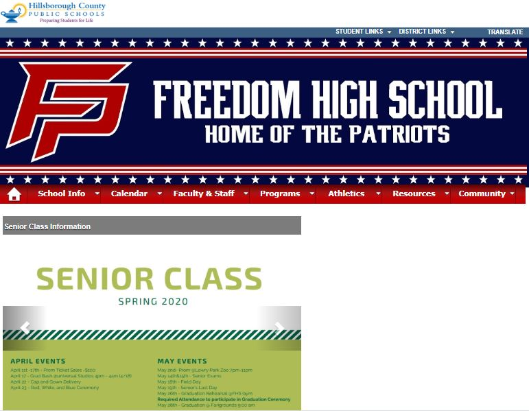 The+front+page+of+the+Freedom+Website+still+has+important+senior+dates+listed+-+but+most+seniors+have+already+faced+thereality+that+their+senior+year+is+over.