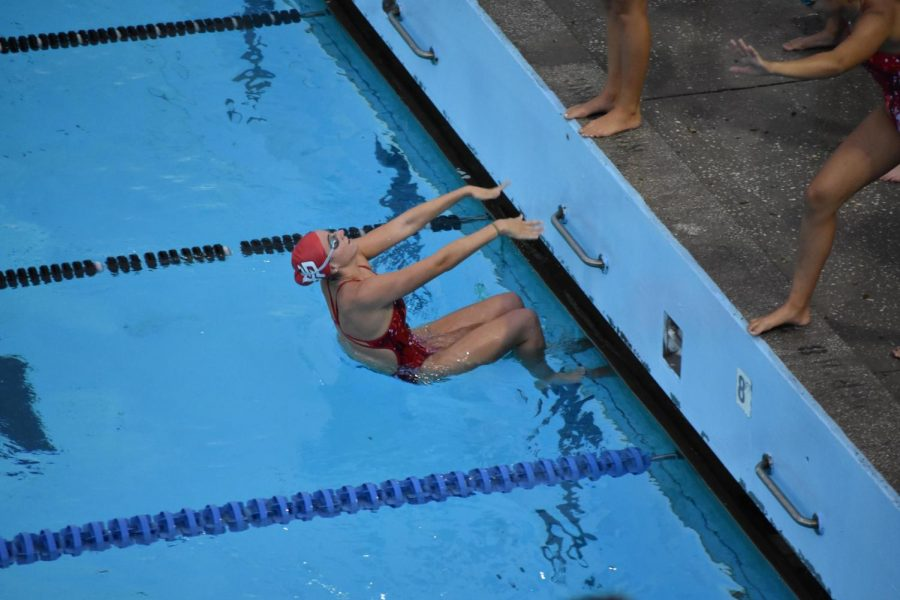 Junior Michelle Morgan prepares for an event at the 2020 District Swimming Meet in Clearwater, Florida.