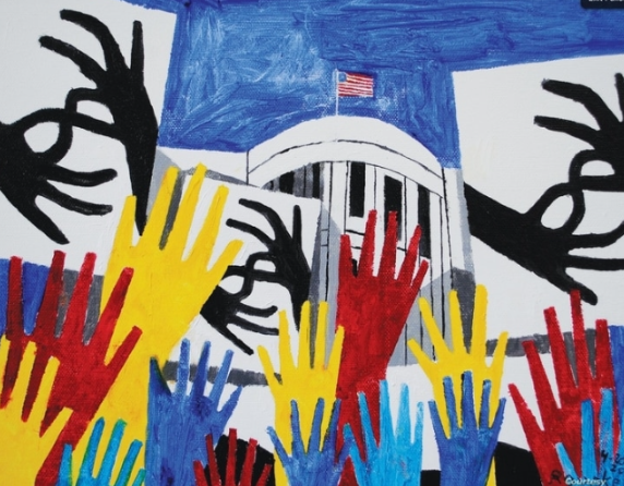 Artwork expressing deaf people protesting the White House with